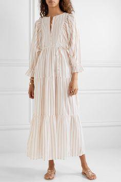 APIECE APART - Francesca tiered striped cotton and Lurex-blend voile midi dress Womens Fashion Online, Latest Fashion For Women, Modest Dresses, Summer Dresses, Francescas Dresses, Mode Ootd, Modest Fashion, Fashion Outfits, Cotton Dresses
