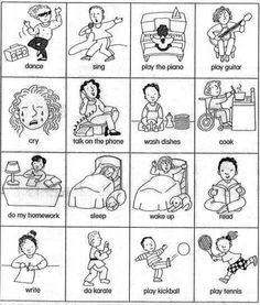 Common verbs in English: think, cry, laugh, hurt, smile, listen, fly, sleep...