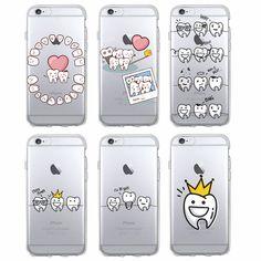 Funny Cartoon Dentist Dental Crowned Teeth Soft Phone Case Coque Fundas For iPhone 7 7Plus 6 6S 6Plus 5 5S SE 5C SAMSUNG