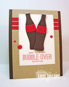 May Your Day Bubble Over card-designed by Lori Tecler/Inking Aloud-stamps and dies from My Favorite Things Pun Card, Pop Bottles, Beautiful Handmade Cards, Masculine Cards, Cool Cards, Kids Cards, Homemade Cards, Stampin Up Cards, Making Ideas