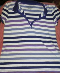 womens shirt purple white striped with some buttons white stage size m. used  #FadedGlory #BasicTee