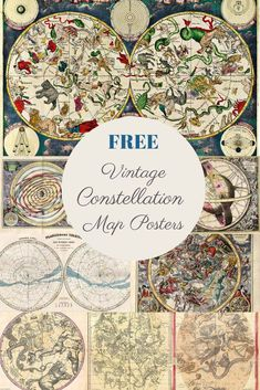 A gorgeous collection of constellation map posters that are Free Poster, Gig Poster, Zodiac Signs Pictures, Deco Harry Potter, Constellation Map, Picture Boxes, Star Constellations, Star Chart, Vintage Prints