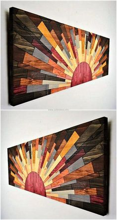 For the creative people and those who love art, we have presented here an idea which is looking like a sun with the rays. The pallets are painted with multiple colors to make the art attractive. The light paint colors can also be used for the appealing look as they will also look well.
