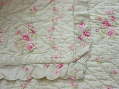 Simply Shabby Chic LADY ROSE Quilt~Bed Coverlet TWIN~Pink  Green | eBay