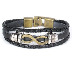 2017 New Year Fashion Vintage Gold Charm Leather Bracelets Trendy Multilayer Diy Number 8 Men's Link Charm Bracelets Bangles