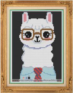 Hipster Alpaca Cross Stitch Pattern by SpaceNonasStitchery - for Michelle?