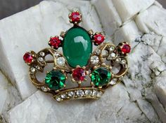 1950s Vintage Eisenberg Crown Pin or Brooch with Large Faux Emerald Cabochon, Smaller Faceted Ruby Red, Green, Faux Diamonds, Signed, Rare by postGingerbread on Etsy