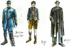 Sandy Powell´s costume sketches for Station inspector, Hugo Cabret and Georges Melies Theatre Costumes, Ballet Costumes, Cool Costumes, Costumes For Women, Amazing Costumes, Sandy Powell, Hugo Cabret, Career Inspiration, Design Inspiration