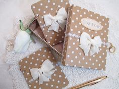 Wedding Vow Book Set - Brown and White- Rustic- Polka Dots- Matching Keepsake Box -Personalized by TheMemoryKeeperShop on Etsy