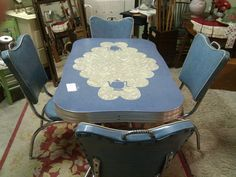Table in antique store prior to purchasing it for the home
