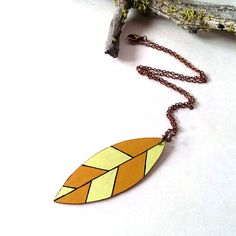 Autumn leaf necklace abstract wood jewelry by CrowsdanceDesigns, $30.00 USD