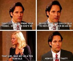 Paul Rudd in Parks and Rec was a god send. Parks And Rec Quotes, Tv Show Quotes, Movie Quotes, Parcs And Rec, Funny Jokes, Hilarious, Stupid Memes, Funny Meme Pictures, Comedy Tv