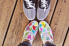 DIY Shoes For Spring from A Beautiful Mess - thought of you @Hope Miles & @Shannon Wilson