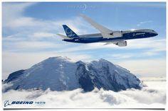 Boeing 787-9 over Mt. Rainier. First Flight.  Simply Stunning!