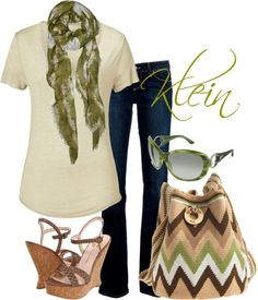 """Olive green and brown casual"" by stacy-klein on Polyvore"