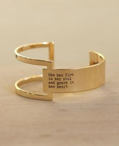 A geometric cuff bracelet puts a modern twist on a truly inspirational phrase. Feel strong and confident with the text featured on this unique accessory. Open design features an adjustable fit. Made of brass with rhodium or gold plating. Silver Bracelets, Jewelry Bracelets, Silver Jewelry, Ankle Bracelets, Unique Bracelets, Turquoise Jewelry, Indian Jewelry, Indian Earrings, Jewelry Dish