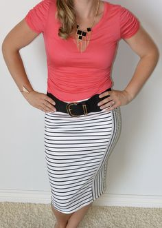 Cutest striped pencil skirt ever! Comes in black too!! http://www.sexymodest.com/collections/featured/products/straight-line-pencil-skirt #modest #sexymodest #sexymodestboutique @modestshoppin