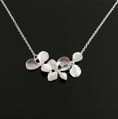 White Gold Triple Orchid Flower by SimpleElegantJewelry on Etsy, $20.00