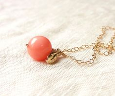 Tiny Sweet Peach Necklace . coral bead . gold filled chain . CocoroJewelry on Etsy