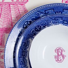Just Love My Blue Willow Paired With The Sasha Nicholas Raspberry Couture Font Dinnerware! Blue Willow Was The First Dinnerware To Be Produced Through The Transfer Process Making It Possible For Families To Have Affordable Matching Sets Of Dinnerware Which Transformed The Dining Experience Forever. (circa 1780) Sasha Nicholas Monogrammed Dinnerware.