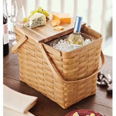 "A perfect pairing! Longaberger new Wine & Cheese Basket Set provides the perfect complement for your refined tastes. It's one guest that's sure to be invited back time and again. Two standard bottles of wine fit into the wine protector. Six Bread Plates and 6"" Pie Plate fit under the WoodCrafts Riser. The Square Bread Plate fits on top of the WoodCrafts Riser."
