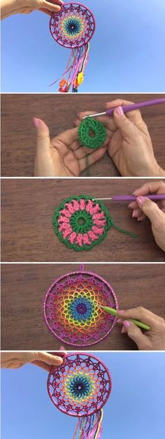 How to Crochet a Beautiful Mandala - Design Peak. , How to Crochet a Beautiful Mandala Beau Crochet, Crochet Diy, Crochet Home, Love Crochet, Learn To Crochet, Crochet Gifts, Beautiful Crochet, Tutorial Crochet, Crochet Tutorials