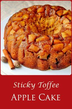 Sticky Toffee Apple Cake is a cross between a sticky toffee pudding and an apple upside down cake; rich, moist & densely textured. An ideal Fall dessert.