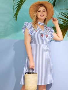 Casual Tunic Striped Shift Straight V neck Short Sleeve High Waist Blue Short Length Roll Up Sleeve Striped Dress Plus Size Dresses, Plus Size Outfits, Neck Choker, Roll Up Sleeves, Types Of Sleeves, Striped Dress, Plus Size Fashion, Short Sleeve Dresses, Shirt Dress
