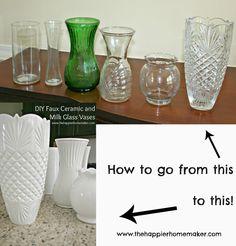 DIY Vase Makeover  Faux Milk Glass/Faux Ceramic www.thehappierhomemaker.com como equalizar coisas coloridas e diferentes para que tudo fique mais harmonico.