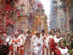 Eucharistic Procession (looks like somewhere in Spain judging from the street sign)