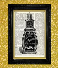 Bottle of Tooth Powder Print Dictionary Page Art by TheMuckyDuck