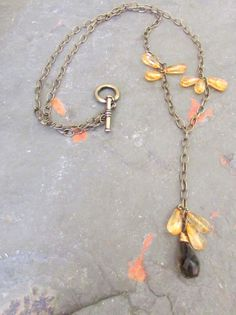 Citrine Tear Drops and Lemon Quartz Antiqued Brass Chain Lariat Necklace by TangibleImaginings on Etsy