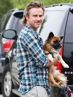 Sam Trammell and his dog