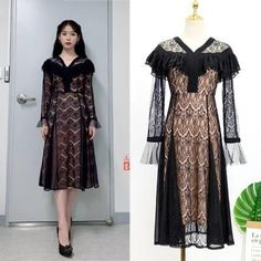 Feeling lavish and extravagant? Be like Jang Man Wol, the CEO of Hotel Del Luna, who loves fancy things just like this dress. Get this latest item inspired from newest Korean Drama Hotel Del Luna to complete your posh look! Korean Fashion Trends, Korea Fashion, Kpop Fashion, Luna Fashion, Girl Fashion, Korean Dress, Korean Outfits, Cute Lace Dresses, K Pop