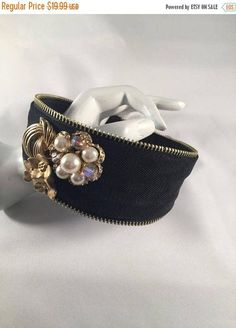 Headband Hand Designed With Vintage Jewelry Pieces Gold &