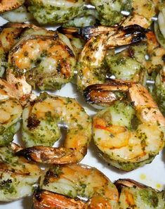 Chimichurri Grilled Shrimp Recipe on Grilled Shrimp Recipes, Prawn Recipes, Grilled Asparagus, Veggie Recipes, Seafood Recipes, Vegetarian Recipes, Greek Cooking, Chimichurri, Fish Dishes