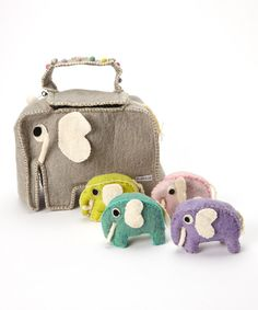 Love this Felted Elephant Bag Set by Én Gry & Sif on #zulily! #zulilyfinds