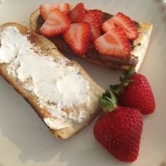 Mikey's toasted baguette with nutella, cream cheese and sliced strawberries