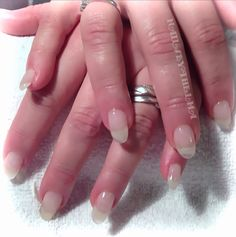 Natural gel nail manicure with a hint of a shimmer sparkle
