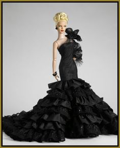 Black ruffled couture gown