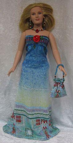 EMME Tonner Full Figure Doll Clothes #09 Dress, Purse, Necklace, Earrings Set #HandmadebyESCHdesigns