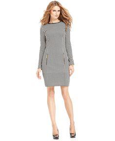 MICHAEL Michael Kors Dress, Long-Sleeve Houndstooth-Print Sheath - Womens Dresses - Macy's