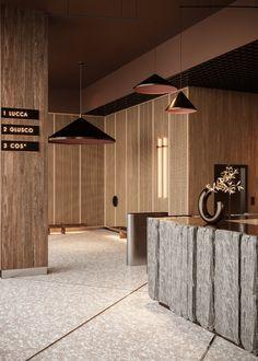 Business Center Hall Concept on Behance Lobby Interior, Cafe Interior, Office Interior Design, Interior Architecture, Design Commercial, Commercial Interiors, Shop Interiors, Office Interiors, Café Restaurant