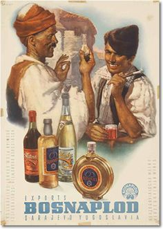 Poster for Bosnaplod, alcohol drinks manufacturer from Sarajevo, Bosnia and Herzegovina, ca 1955. Authors: Andrija Maurović and Zvonimir Faist. This poster advertised export items from Yugoslavia, Bosnian brandy, and Herzegovina wines, in German and English. The poster was the joint work of two painters: Andrija Maurović and Zvonimir Faist. For some time, the artists, sometimes with Ferdo Bis, signed themselves: A-R-S. Source: Zvonimir Faist, The dictates of the time..., Zagreb City Museum