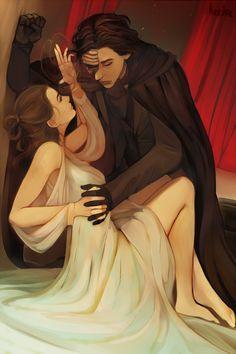 Kylo Ren and Rey, Phantom at the Opera style. Found on Tumblr.