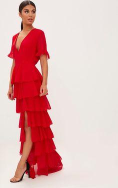 Chiffon Maxi Dress, Chiffon Ruffle, Maxi Dresses, Long Dresses, Lady, Evening Dresses, Usa, Red Dress Casual, Casual Dresses