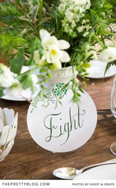 Farm Style Wedding   table decor/numbers   Photographer: Shoot and Create   Stationery: Nooi Stationery