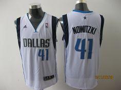 Adidas NBA Dallas Mavericks 41 Dirk Nowitzki Swingman Home White Jersey