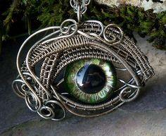 Gothic Steampunk Sable Evil Eye Pendant with Green Eye Itty Bitty