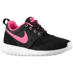 Nike Roshe Run - Girls' Grade School - Running - Shoes - Black/White/Pink Foil